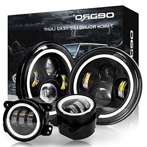 "OEDRO 7"" LED Headlights  + 4 inch LED Combo Fog Lights , DOT"