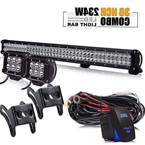 TURBOSII 36Inch 234W LED Light Bar Offroad + 2PCS 4In 18W Cu