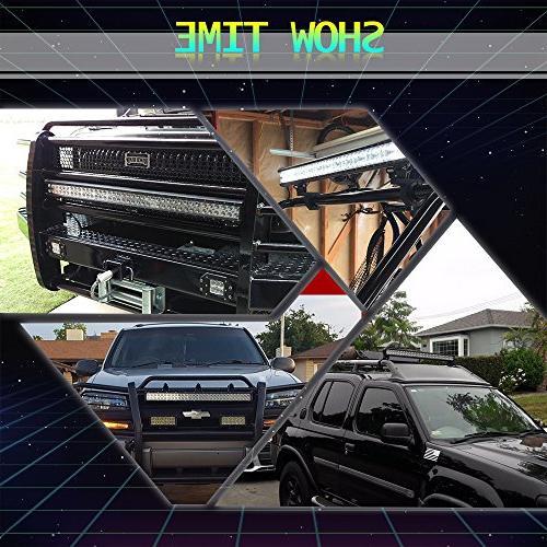 "TURBOSII Light 44 Inch Flood Combo Driving Lamp Road Lights + 4"" LED Work Light Boat SUV ATV Dodge Jeep"