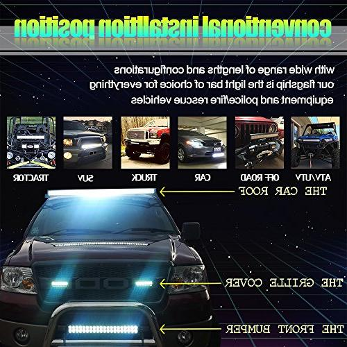 "TURBOSII 50"" Light Bar Offroad 4"" Pods Cube Auxiliary Driving light Lamp On Grill Windshield Truck Tahoe ATV"
