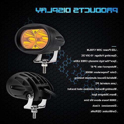 WEISIJI Work Amber Headlight LED Fog Light Off Road Light LED Light for Truck SUV 2 years