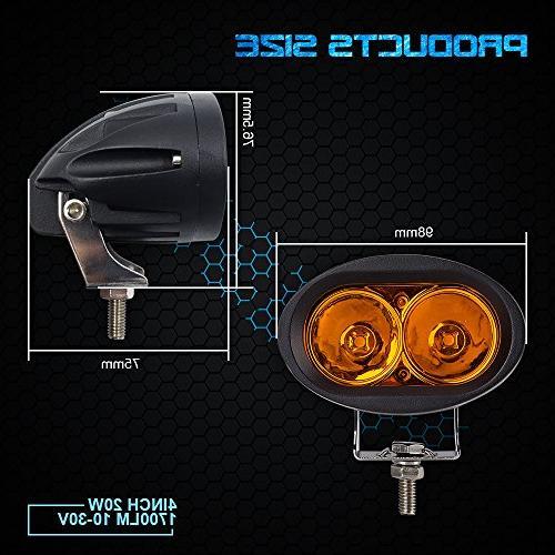 WEISIJI Amber Motorcycle LED Headlight Fog Light Light for Jeep Truck Boat SUV 2