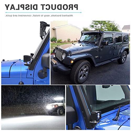 "YITAMOTOR 52"" inch 300W Combo+ 2X 18W LED Mounting Brackets+Wiring JK Wrangler"