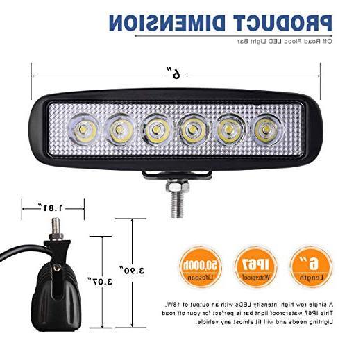 YITAMOTOR Light Bar 2PCS 18W 6 Flood LED Light Road Light Fog Light Light SUV 4WD Car Truck Cart 24V, 2 Year