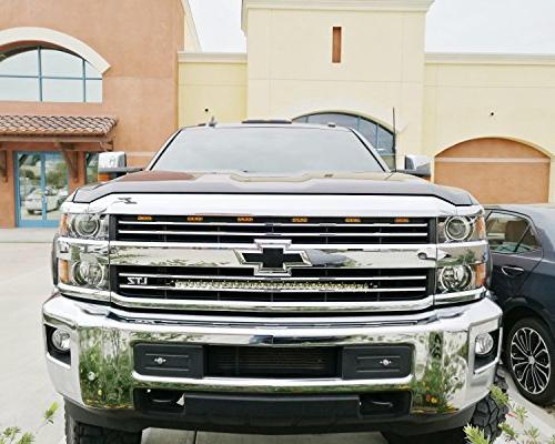 """iJDMTOY Behind Mount 30"""" LED Light Kit For Silverado 2500 3500 HD, Includes Lightbar, Grill Brackets & Wiring"""