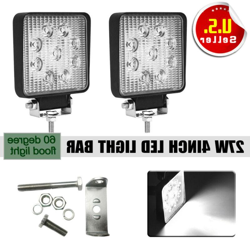 2x 4INCH 36W CREE LED WORK LIGHT BAR Flood OFFROAD ATV FOG T