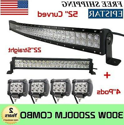curved 52inch led light bar 22in 4