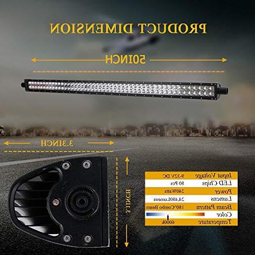 "DOT 50"" Inch Light Bar Combo Windshield Bumper Light + 4Inch Led Fog Light Rocker Wiring Ford Toyota Tundra Boat Jeep Polaris"