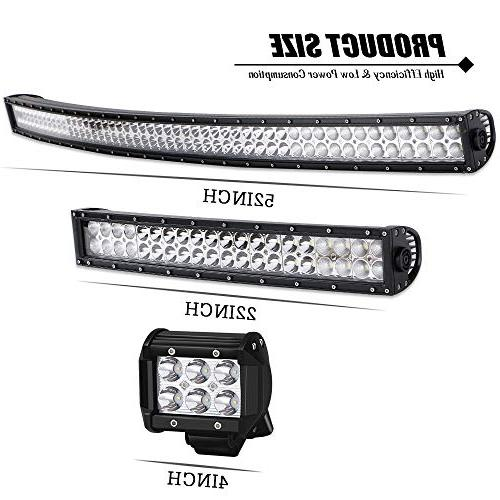 "AUSI Curved Led Bar + Light Bar 4"" + Rocker Switch Harness Truck Jeep Chevy"