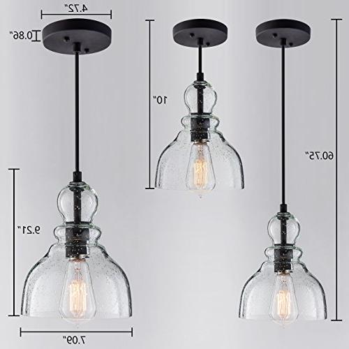 Lights with Handblown Clear Seeded Glass Bell Lighting Dining Room,Kitchen Restaurants, Bars Shops,