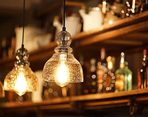 Lanros Industrial Mini Pendant Lights with Handblown Clear Seeded Glass Shade, Adjustable Dining Restaurants, Bars and Shops, 2-Pack