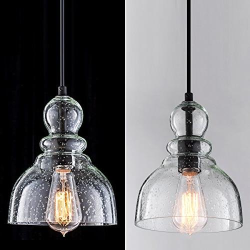 Lanros Lights with Handblown Seeded Bell Pendant for Dining Room,Kitchen Island, Bars and 2-Pack