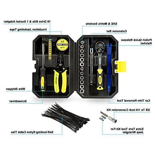 Eyourlife Removal Kit for Jeep Wrangler Tool w/ Screwdriver Set Ratchet Handle,Socket Set,Wire Removal 82214166AB
