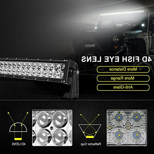 LED Light Bar AUTOSAVER88 16 Light 4D 144W with Straight 12000Lumens Automotive & Combo Beam,2 Year