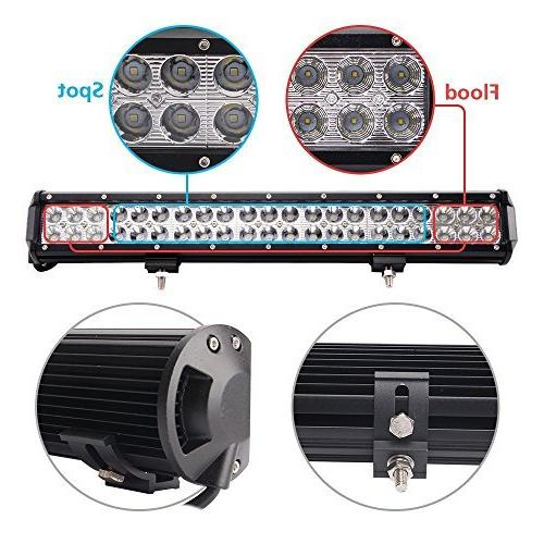 LED Light 20'' 126W Flood Spot Combo 10FT 40A Fuse Harness, 2 X Spot Led Lights, Bright, Jeep Tractor 1 Year