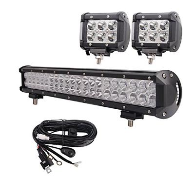 LED Light 20'' 126W Flood Combo 10FT 40A Wiring Harness, X Spot Led Bright, Truck Tractor Off Year Warranty