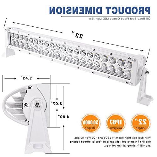 LED 22'' Work Light Flood Light Driving Light Fog Light compatible for SUV UTE Tractor 120W White Combo