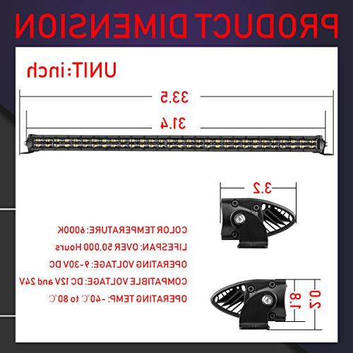 LED Light Inch, 240W Slim Spot Flood Off Road Dual Row LED Lights Work for SUV UTV -