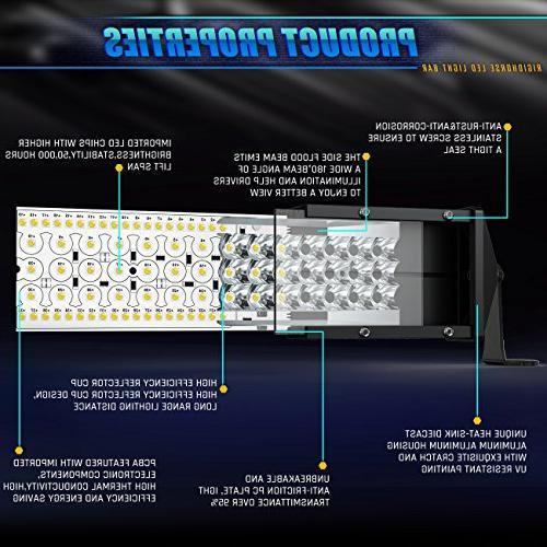 Rigidhorse LED Light 5 600W 35000LM Flood Combo Beam LED Jeep Pickup SUV UTV Truck Year