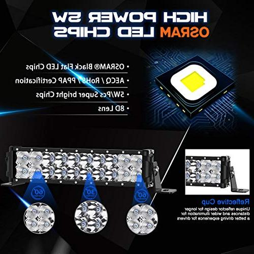 "LED Light Rigidhorse 98000LM 52 500W 32 300W Flood Combo LED Bars 4"" 30W Fit Jeep Truck ATV,"