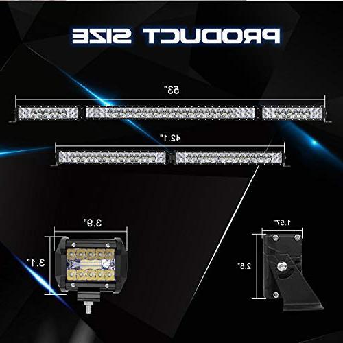 LED Rigidhorse 52 380W Flood Spot Combo LED Light Bars + 4PCS 30W Light Fit For ATV, Years