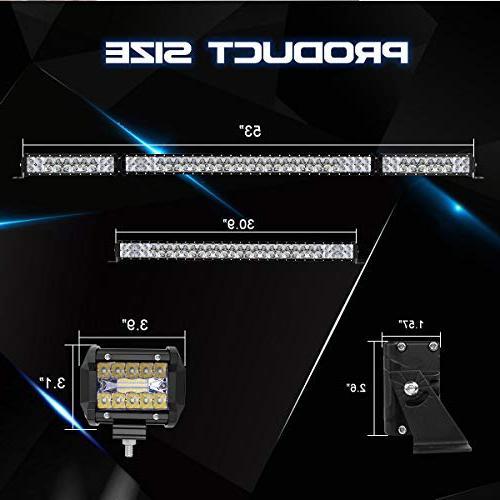 "Rigidhorse 52 500W + 300W Flood Spot Beam Combo White Bars 4"" 30W Light Fit For ATV, Years"
