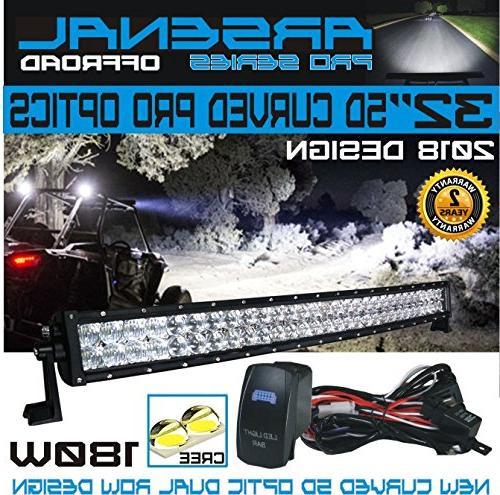 Pro Optics LED Light Bar New 2018 Design Beam CREE 3w LED's 180w Polaris RZR UTV Jeep FREE Switch Kit