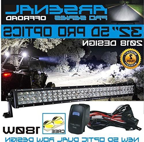 """No.1 5D 32"""" Pro Optics Offroad Light Design CREE 3w 5D=310w 30,000LM RZR Jeep FREE Switch Harness"""
