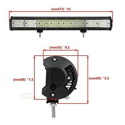 "QUAD 23INCH LED LIGHT BAR FLOOD TRUCK SUV 22"" 20"""