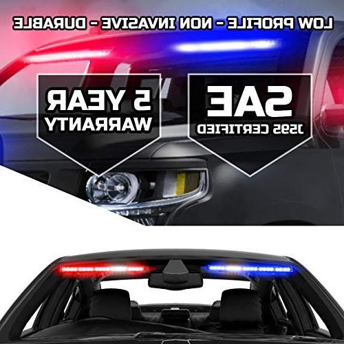 Raptor Interior Upper Windshield Split Visor Light Bar for Emergency Vehicle Warning