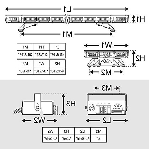 LAMPHUS 98W LED Full-Size Bar Amber Rooftop Warning