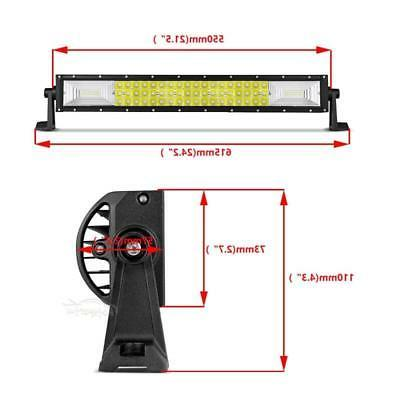Tri Row 22Inch 1296W LED Bar Offroad Driving Pickup 24""