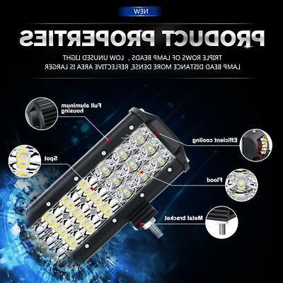 "Tri-Row Light Bar Offroad for ATV UTE 14"""