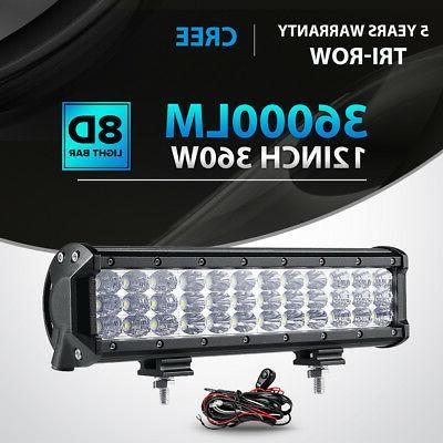 tri row 360w 12inch led light bar