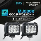 """2x Tri Row 4""""inch 90W CREE LED Work Light Bar FLOOD Offroad"""