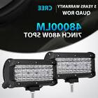 2x Quad Row 7Inch 480W Led Work Light Bar SPOT Offroad Drivi