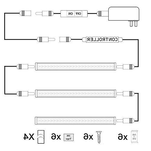 AIBOO Dimmable LED Cabinet Lighting Under LED Light Bar Kit with Kitchen,Showcase,Shelf