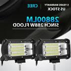 2X 5Inch 288W Cree Led Work Light Bar FLOOD Beam Offroad 4WD