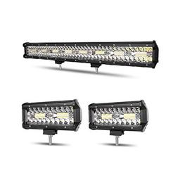 Autofeel LED Light Bar, 23 Inch 297W + 2PCS 7 Inch 36W Tripl