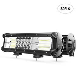 LED Light Bar Nilight 2PCS 12Inch 180W Triple Row Flood Spot