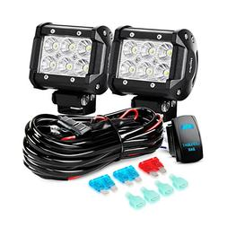 Nilight LED Light Bar 2PCS 18W Flood Led Off Road Lights 12V