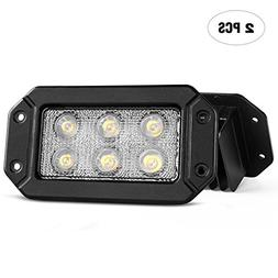 Nilight Led Light Bar 2PCS 18W Spot Flush Mount LED Work Lig