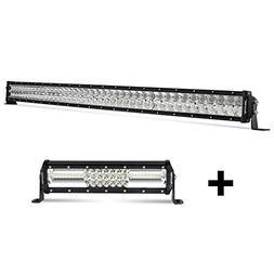 LED Light Bar, Autofeel 52 inch Curved Double Row+12 inch Tr