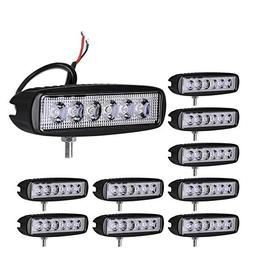 LED Light Bar YITAMOTOR Led Light Pod 10x 18W Spot 6inch LED
