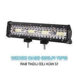 LED Light Bar, Rigidhorse Tri Row 12 inch 120W Light Bar Flo