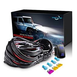 mictuning LED Light Bar Wiring Harness 40Amp Relay ON-OFF La