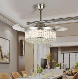 Modern Fandelier Invisible Retractable Chandelier Fan LED Ce