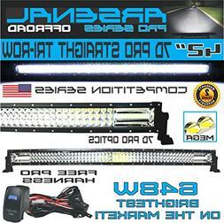 "No.1 42"" Tri-Row Pro Straight Led Light Bar 648w 64,800LM 7D"