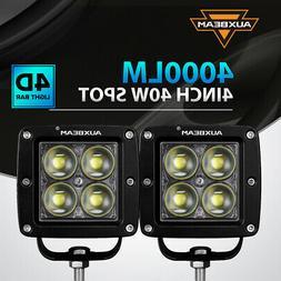 PAIR AUXBEAM 4INCH 40W LED WORK LIGHT BAR 4D LENS DRIVING SP