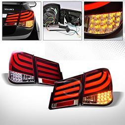 AutobotUSA Red Clear Led Tube Bar Rear Tail Brake Lights Sig